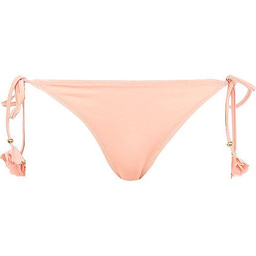 Peach flower tie side bikini bottoms