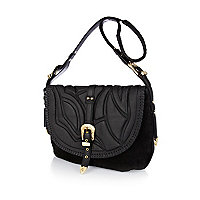 Black leather embossed oversized satchel