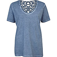 Blue washed lace insert low scoop t-shirt