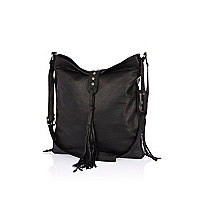 Black leather tassel messenger bag