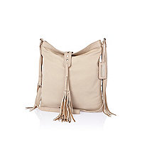 Beige leather tassel messenger bag