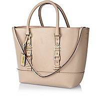 Beige leather structured tote bag