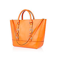 Orange leather structured tote bag