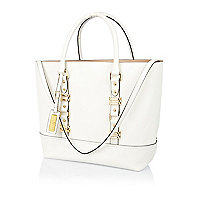 White leather structured tote bag