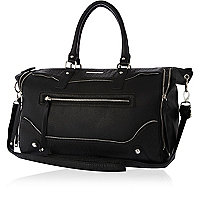 Black washed zip detail holdall