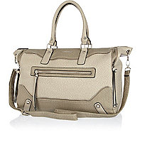Grey washed zip detail holdall