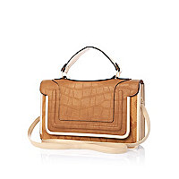 Beige croc panel structured satchel