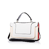 White colour block structured satchel