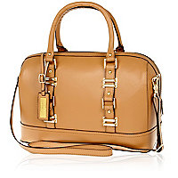 Beige leather structured bowler bag