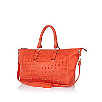 Red stud holdall bag