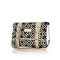 Black geometric print cross body bag