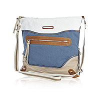 Blue canvas colour block messenger bag