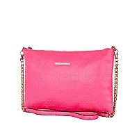 Pink RI embossed cross body bag