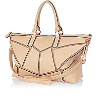 Beige chain embellished panel holdall bag