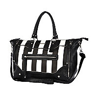 Black and white stripe holdall bag