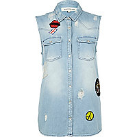 Mid wash sleeveless denim shirt