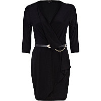 Black wrap front belted dress