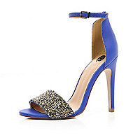 Blue embellished strap stiletto sandals