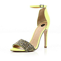 Green embellished strap stiletto sandal
