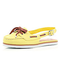 Yellow sling back boat shoes