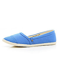 Blue stud slip on pumps