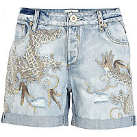 Light wash dragon embellished denim shorts
