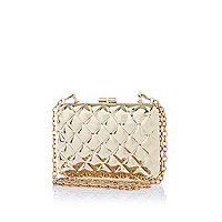 Gold tone quilted metal box clutch bag