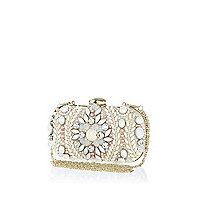 Cream embellished box clutch bag