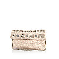 Beige embellished fold over clutch bag