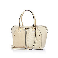 Cream contrast panel stud holdall