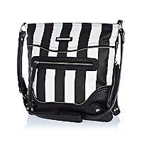 Black and white stripe messenger bag