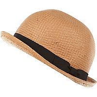 Beige straw ribbon trim bowler hat