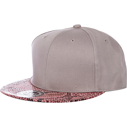 Grey snake peak trucker hat