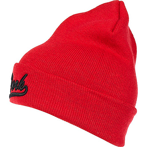 Red New York beanie hat