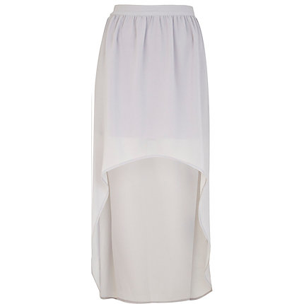 Light purple dip hem maxi skirt