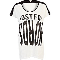 White Lost For Words print tunic