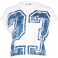 White 23 print cropped t-shirt