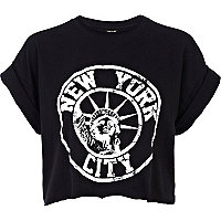 Black New York City print cropped t-shirt