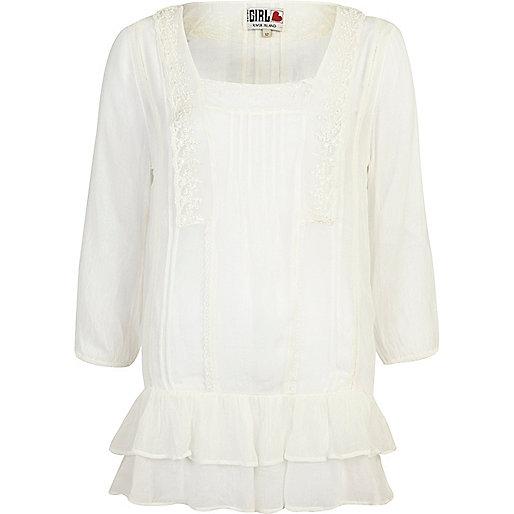 Cream Chelsea Girl victoriana frill hem tunic