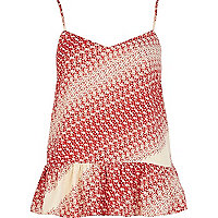 Red Chelsea Girl ditsy print peplum cami top