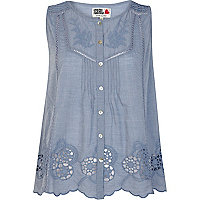 Blue Chelsea Girl button through top