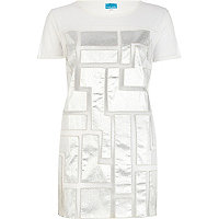 Silver mesh futuristic t-shirt dress
