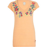 Orange floral embroidered V neck t-shirt