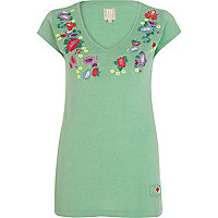 Green floral embroidered V neck t-shirt