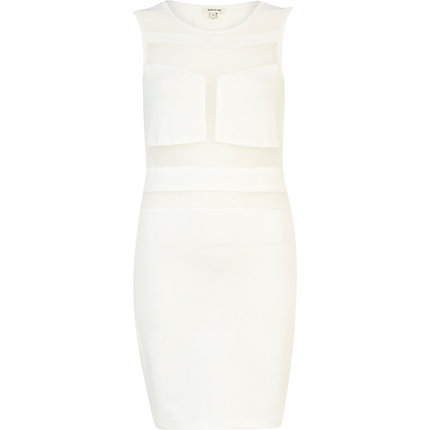 White Bodycon Dress on White Sheer Panel Sleeveless Bodycon Dress   Dresses   Sale   Women