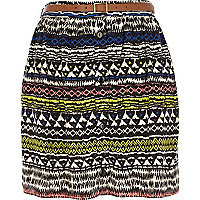 White aztec print button through mini skirt