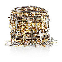 Gold tone diamante cross beaded cuff