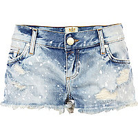 Light wash denim paint splat hotpants