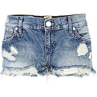 Mid wash denim distressed hotpants
