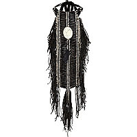 Black tribal fringed bib necklace